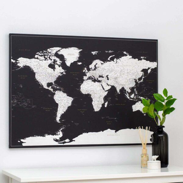 black push pin world map trip map
