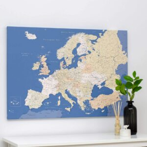 blue europe canvas map with pins trip map