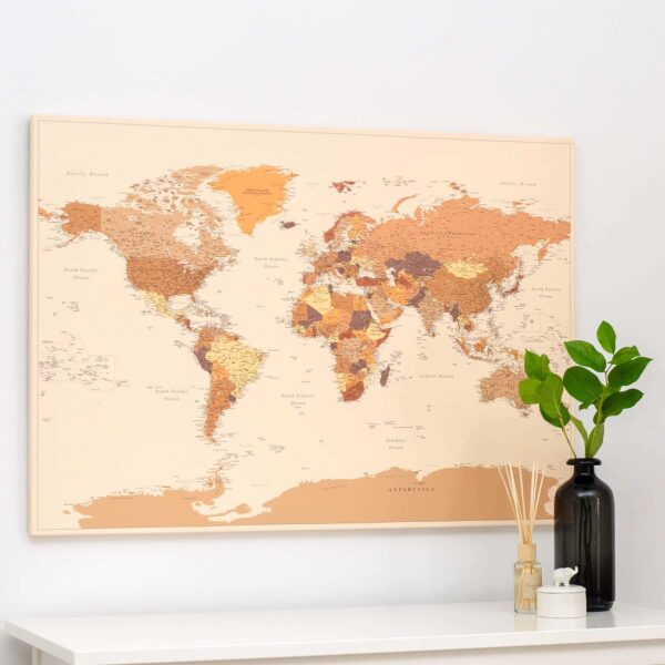 brown trip map world map with pins