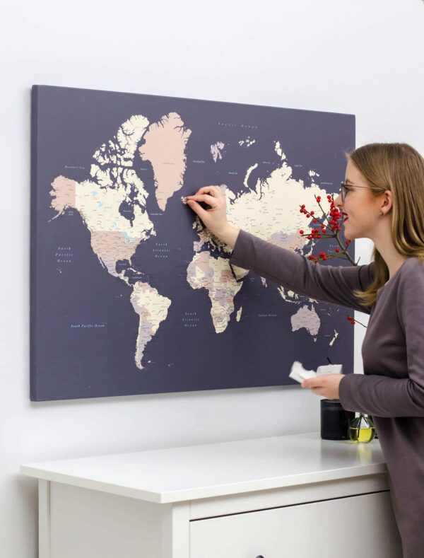canvas world map wall hanging violet
