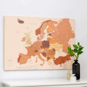 detailed europe map brown trip map