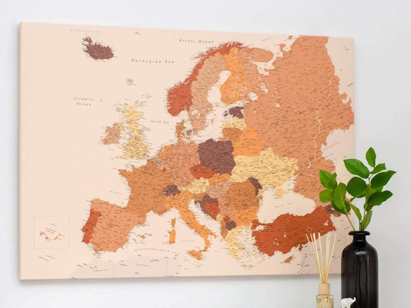 detailed europe map brown trip map