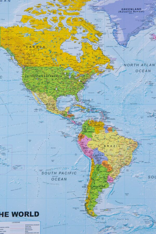 detailed polical world map colorful
