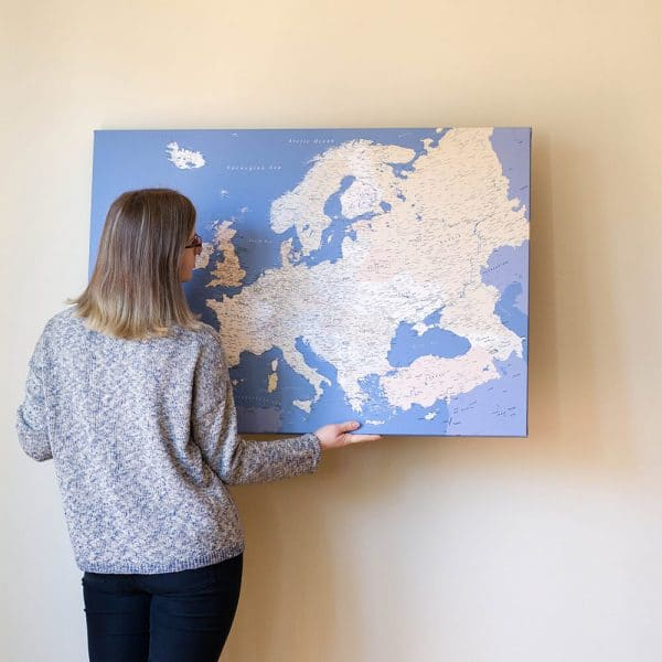 europe canvas map with pins