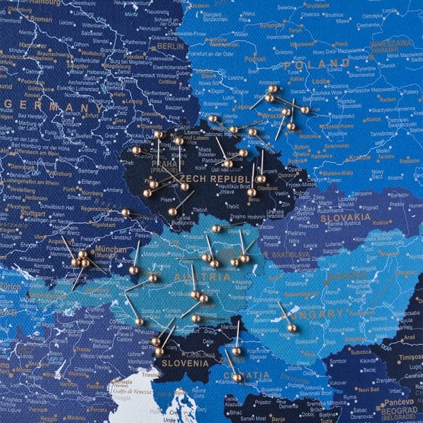 europe map with pins navy blue