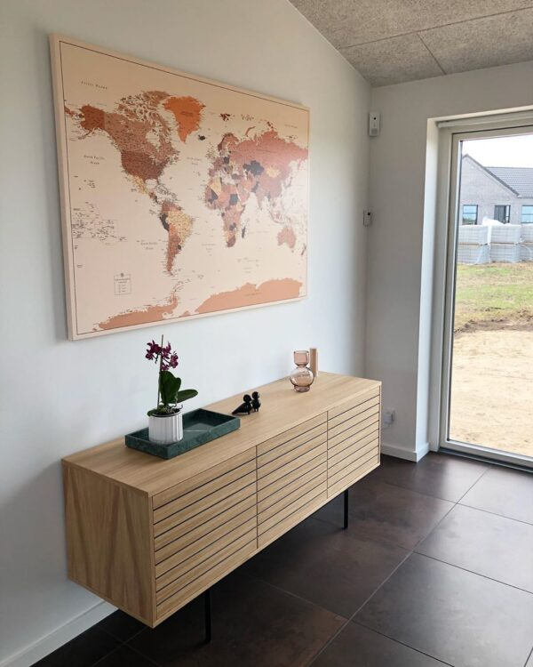 extra large world map in living room brown