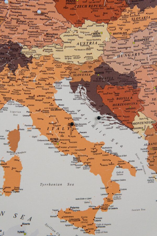italy in europe map brown color