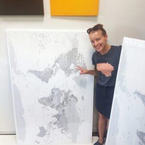 large framed world map on canvas tripmap
