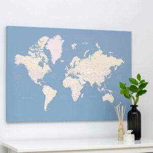 light blue world map canvas pinboard tripmap