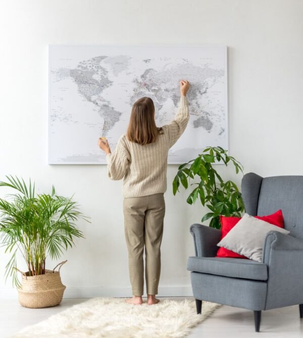 large grey world map places i've visited