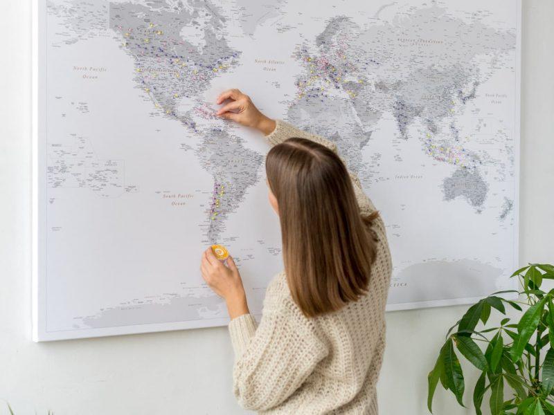 best world map canvas grey