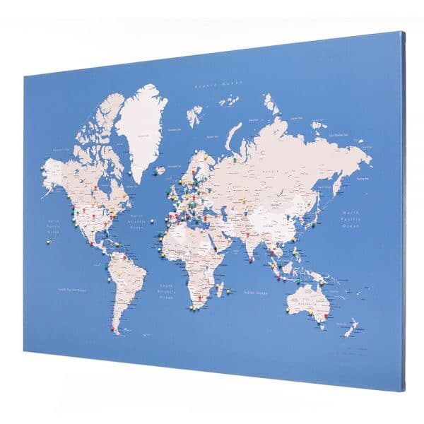 pin board world map with pins blue