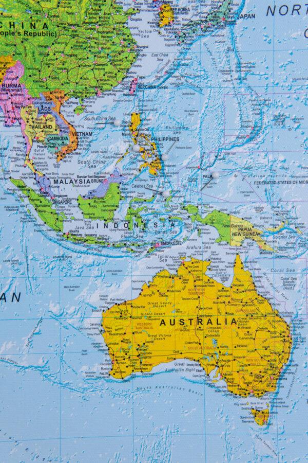 political world map pinboard