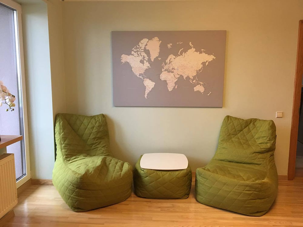 push pin map in living room