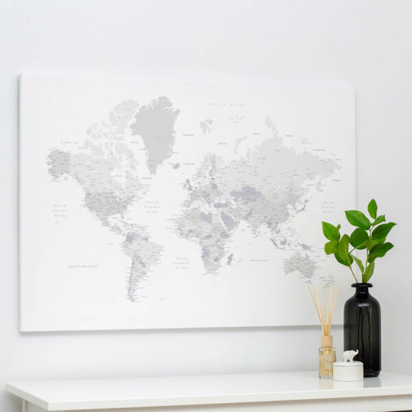 push pin world map grey trip map
