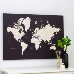 trip map brown world map push pin travel map