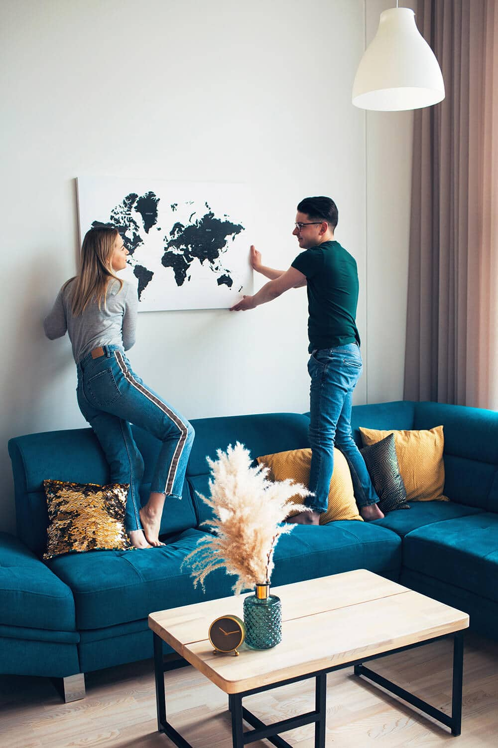 hanging on a wall travel map with pins