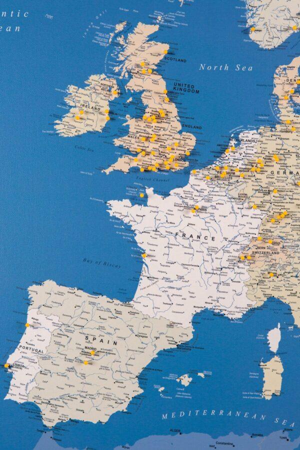 tripmapworld europe push pin map blue