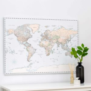 vintage push pin world map canvas print tripmap