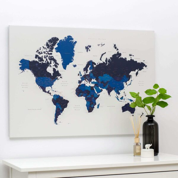 world map canvas art with pins tripmap blue