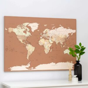 world map pin board detailed tripmap