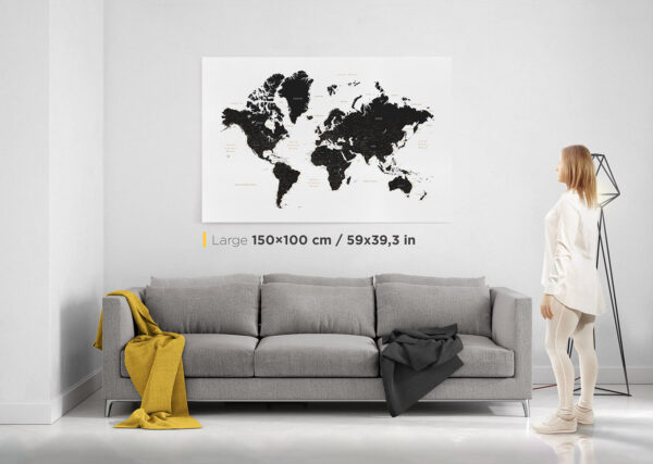 world map pin board with pins black and white