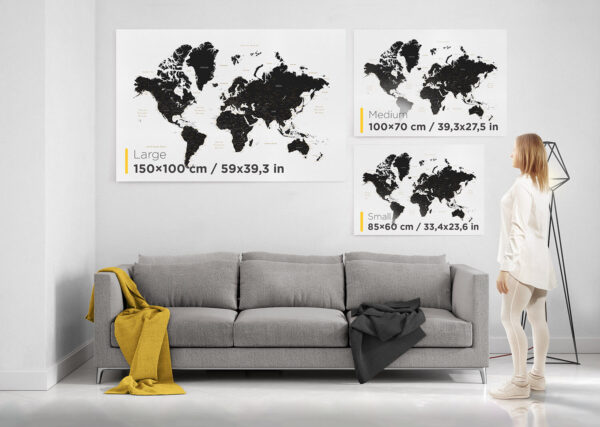 world map wall art size guide