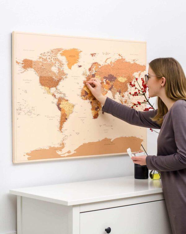 world map wall art with pins tripmap