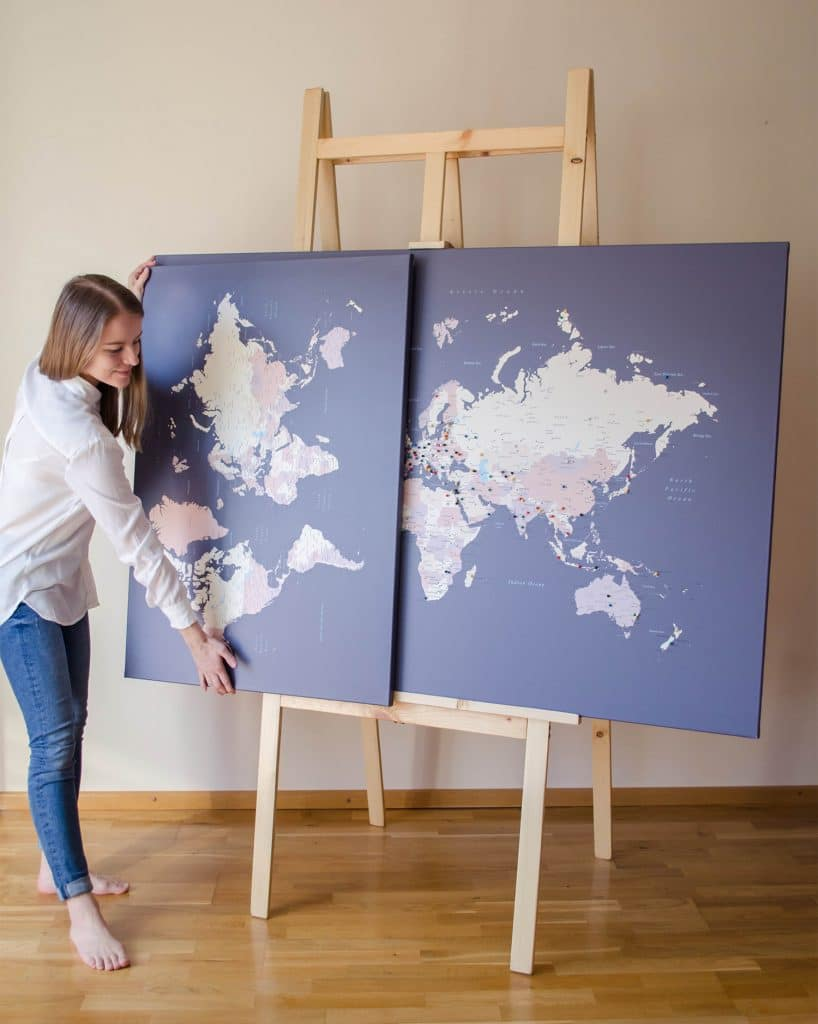 large world map with pins trip map world