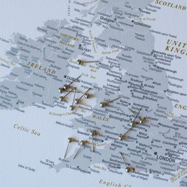 minimal europe wall map with pins