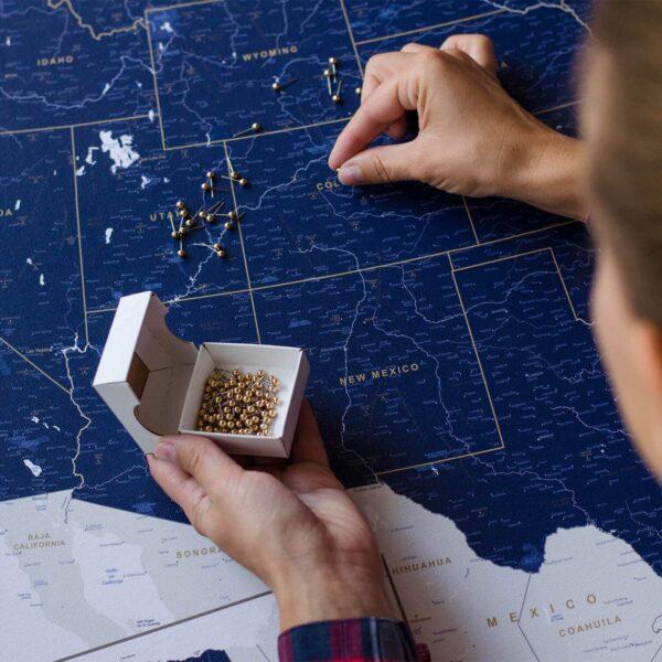 push pin usa map wall art