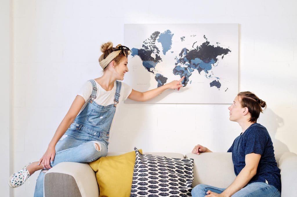 push pin world map wall art trip map world