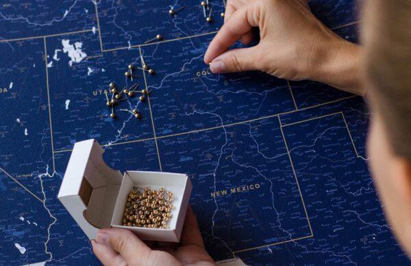 stylish usa map pin board