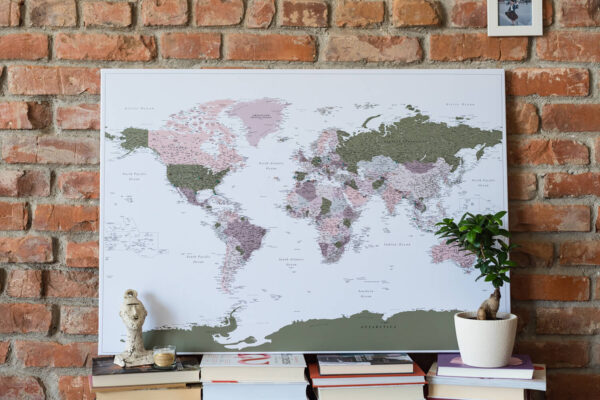 detailed world map pin board green