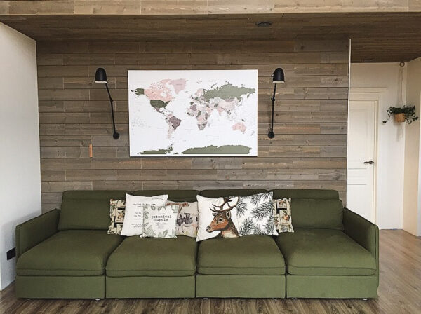 green violet push pin map on the wall