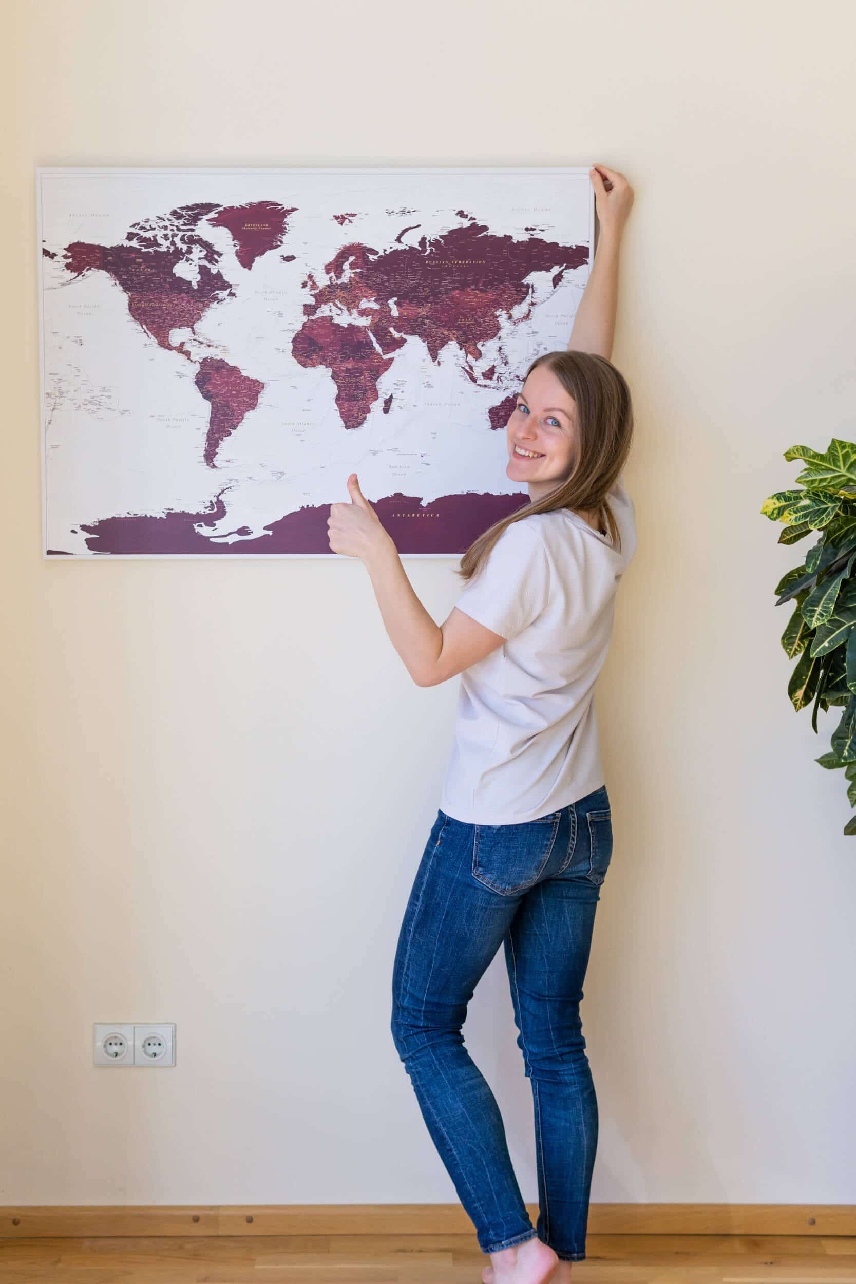 How to hang a Trip Map travel map on a wall without drilling