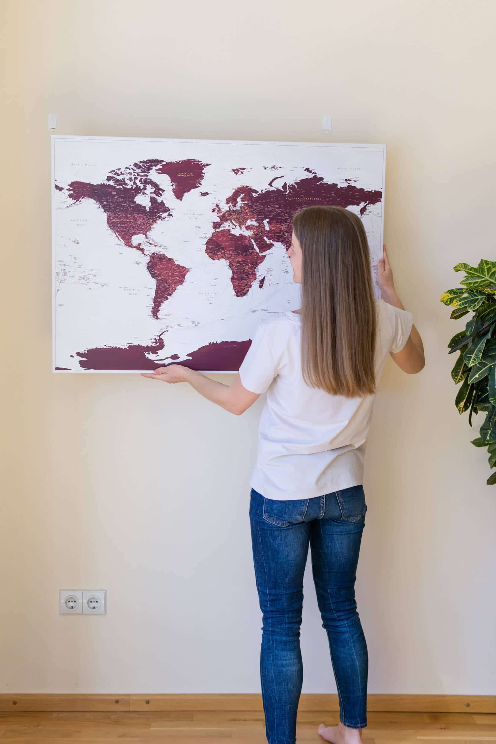 how to hang trip map on wall