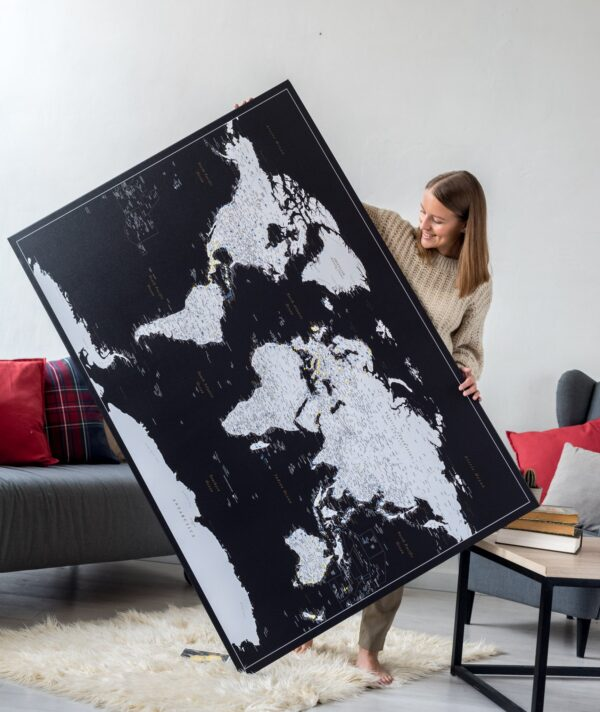 extra large black and white world map on canvas with pins