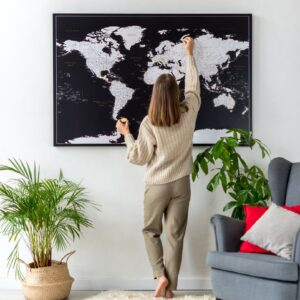 world map with states to track travels black