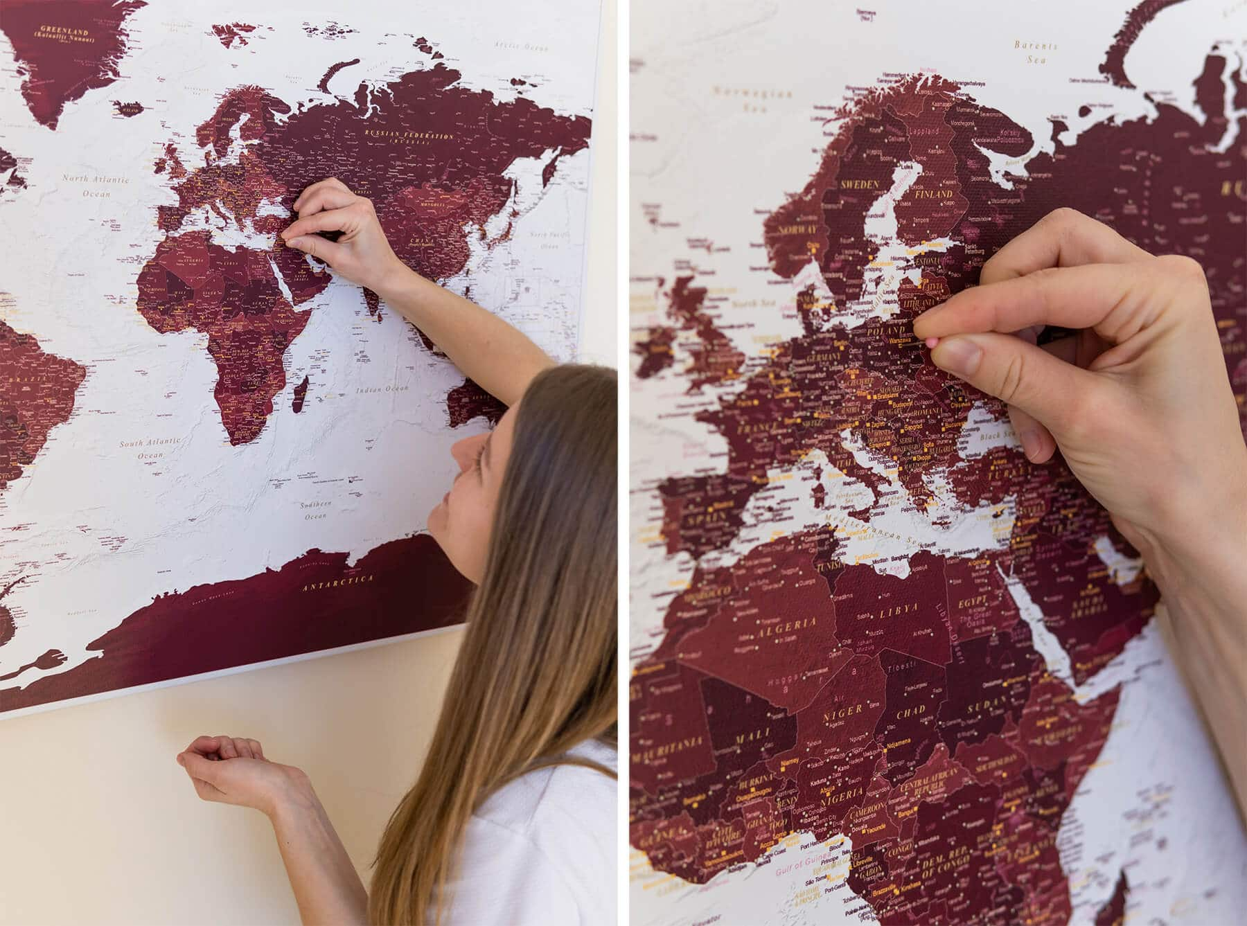 world map on wall to pin