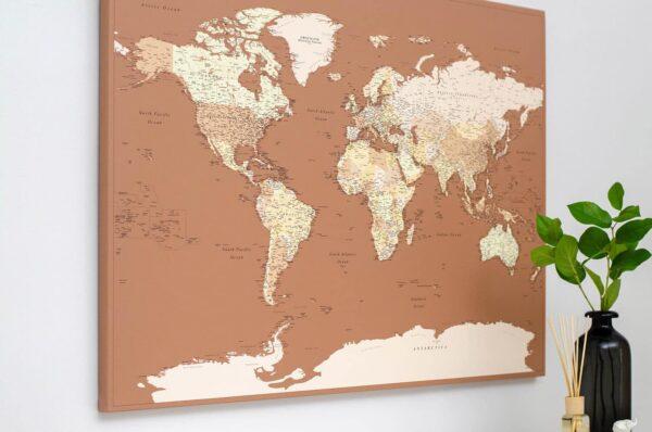 autumn home decor world map pinboard