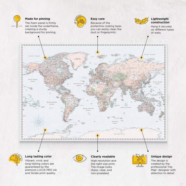 high quality retro pinnable world map