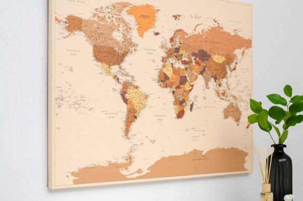 modern push pin travel map brown