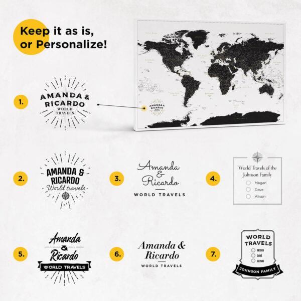 personalized large push pin world map