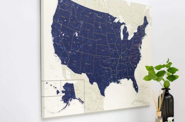 usa canvas map wall art