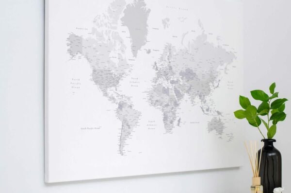white and grey world map canvas