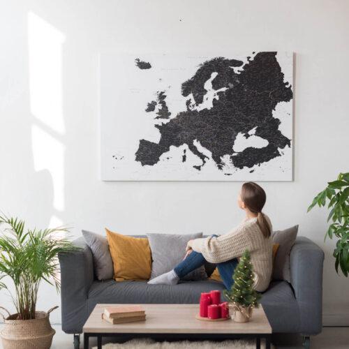 black europe map canvas tripmap