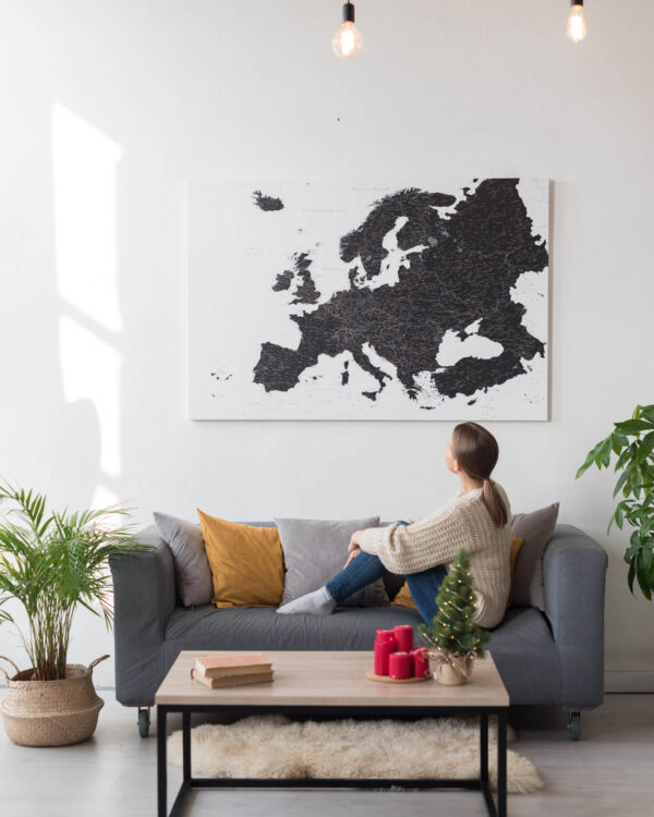 black europe map canvas tripmap