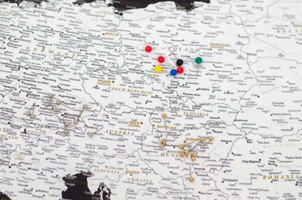 Europe Push Pin Map Modern Black Detailed