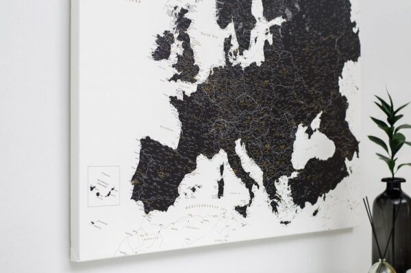 detailed push pin europe map with pins